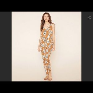 Mustard & White floral jumpsuit